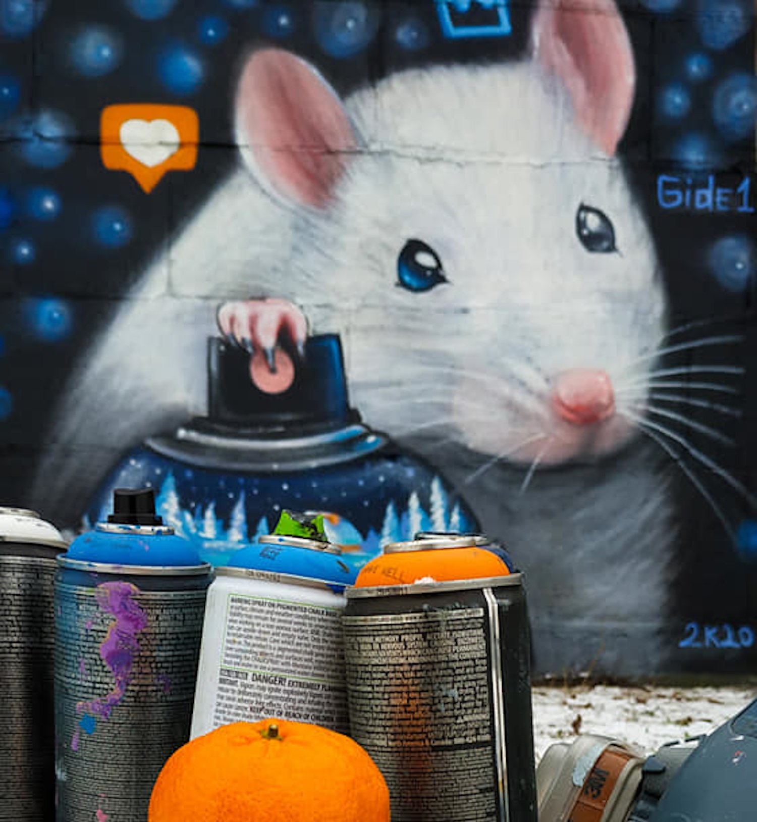 Белая крыса возле Днепра: в столице появился новый мурал